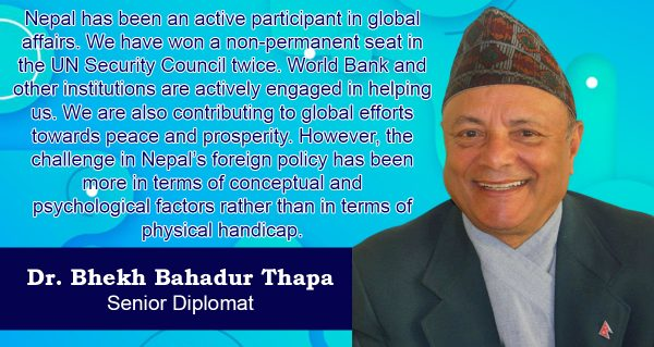 Challenges to Nepal's foreign policy have been caused by psychological factors not geographical