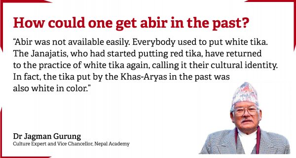 Why do the Dashain tika of Mongols and Aryas differ in color?