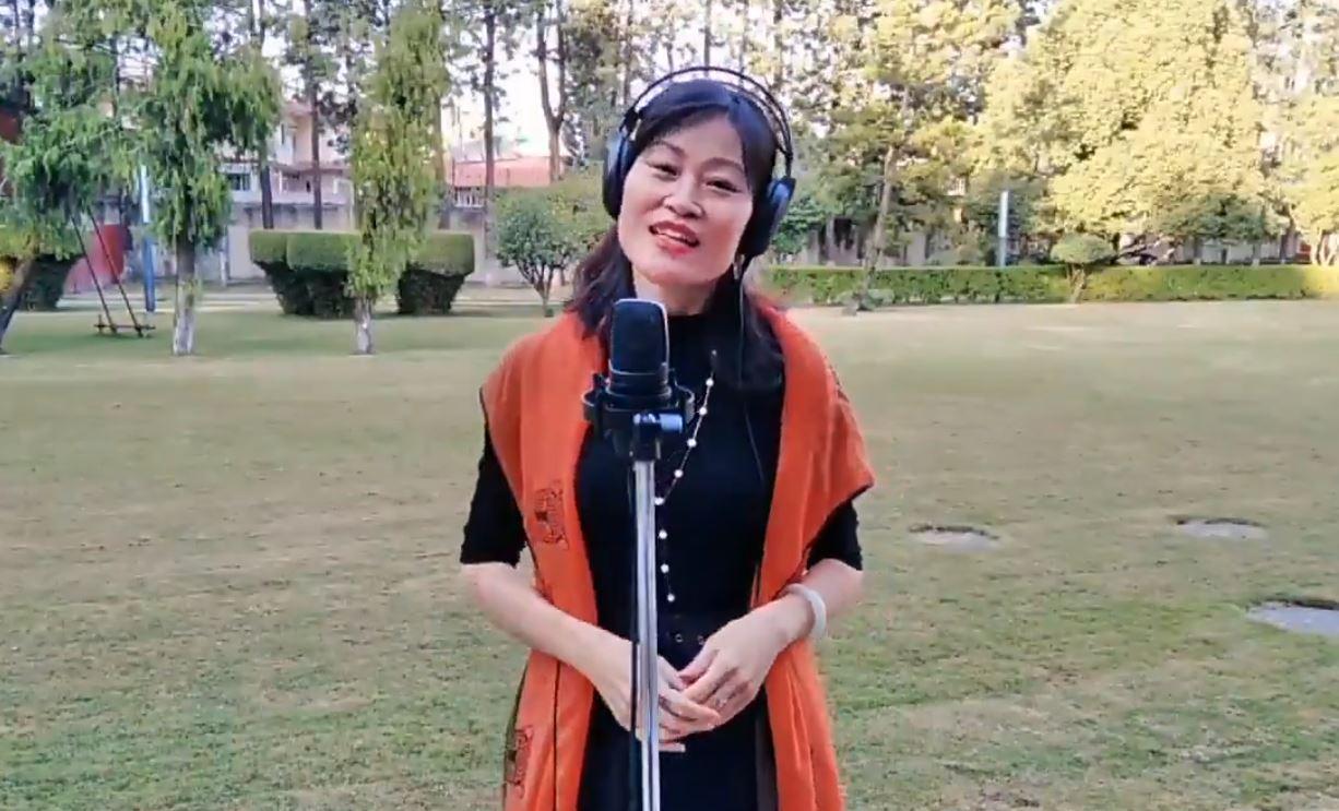 Chinese ambassador to Nepal Hou Yanqi extends her Dashain wishes singing 'Resham Firiri'