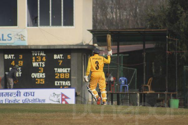 PM Cup Cricket: Samir Kandel from Gandaki makes half century