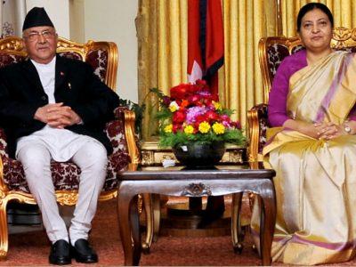 President Bhandari meets Prime Minister Oli